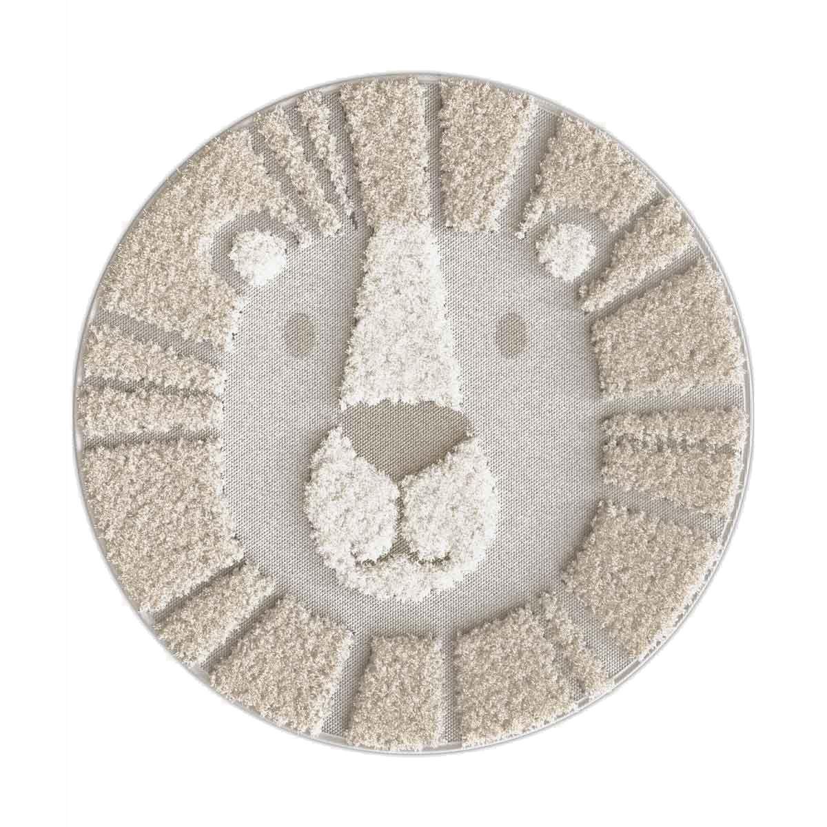 Tapis rond lion crinière beige Tahat 120 cm