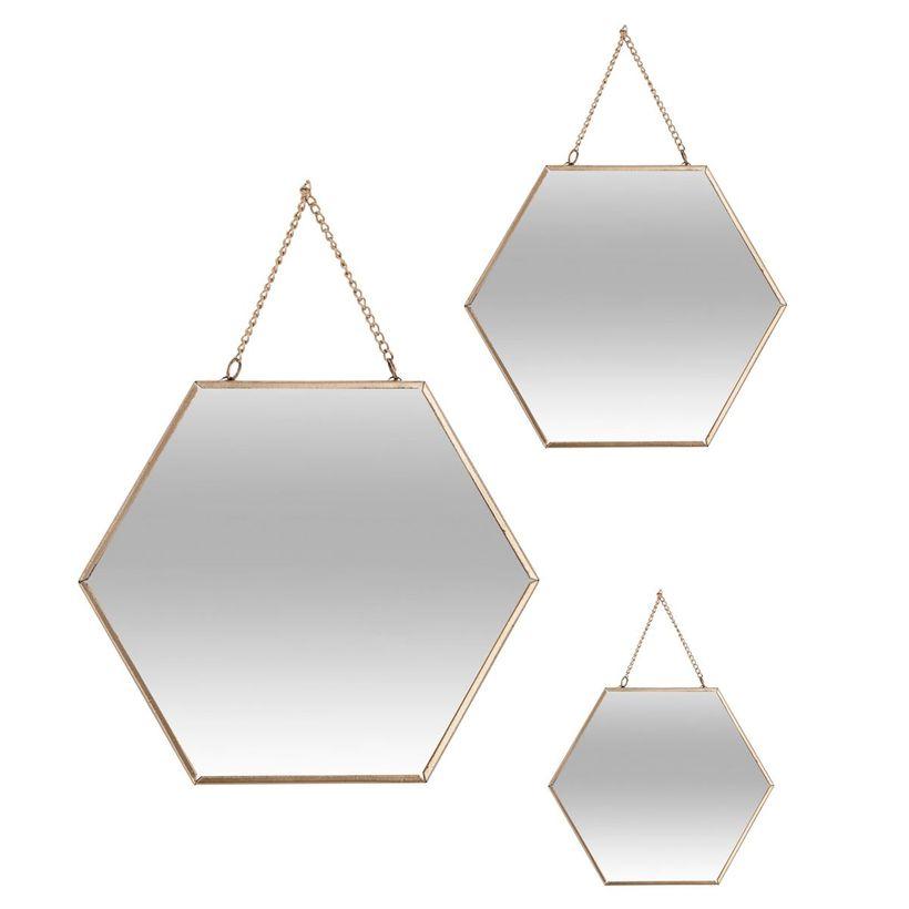 Lot 3 miroirs hexagones métal doré