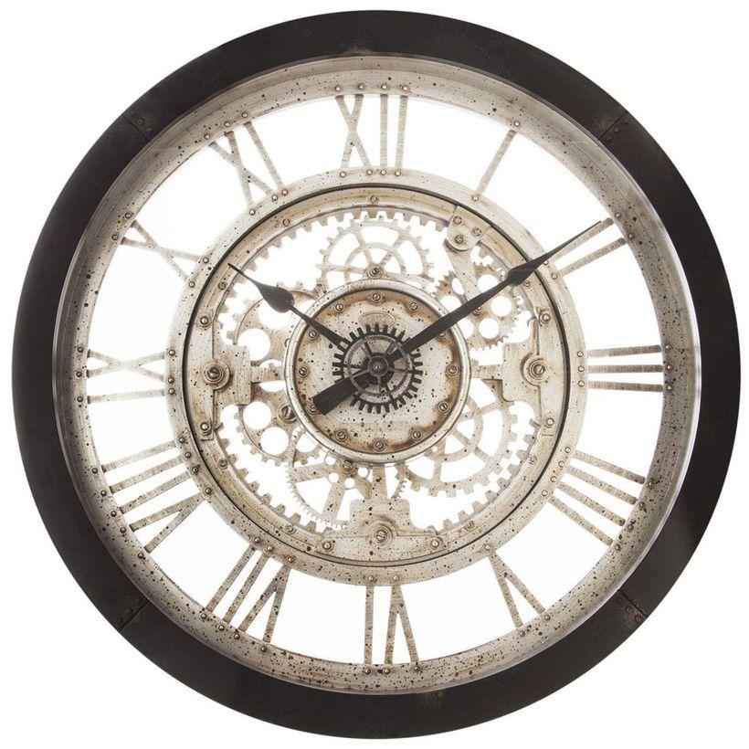 Horloge mécanique noire et dorée D. 61,5 cm