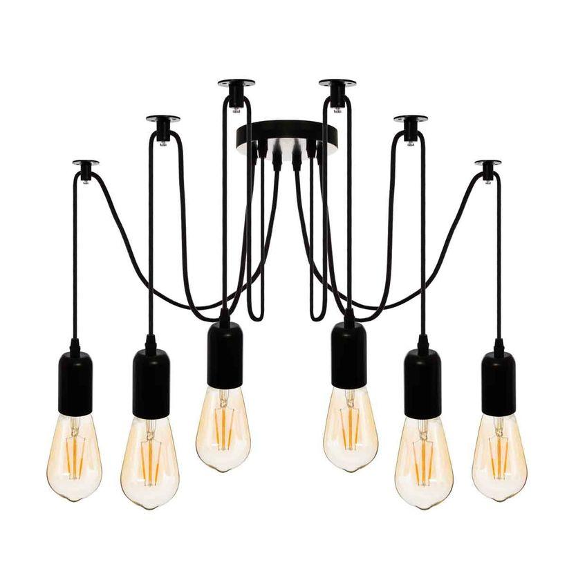 Suspension araignée noire 6 ampoules
