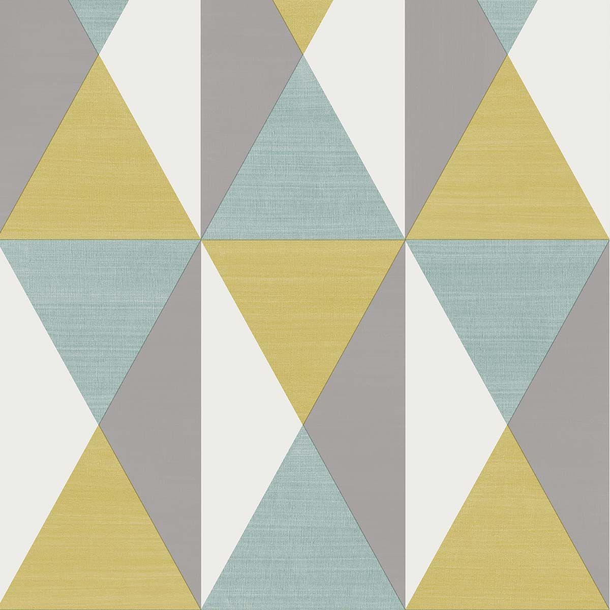 Papier peint vinyl intissé géométrique bleu ciel Bachau