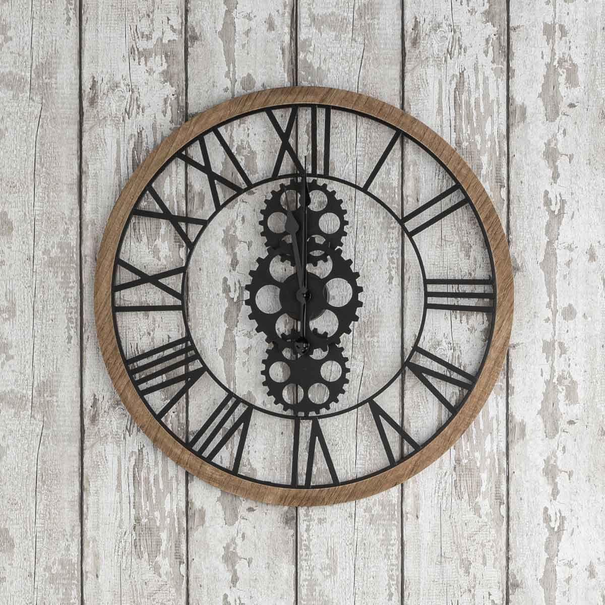 Horloge mécanique en bois et métal D. 70 cm