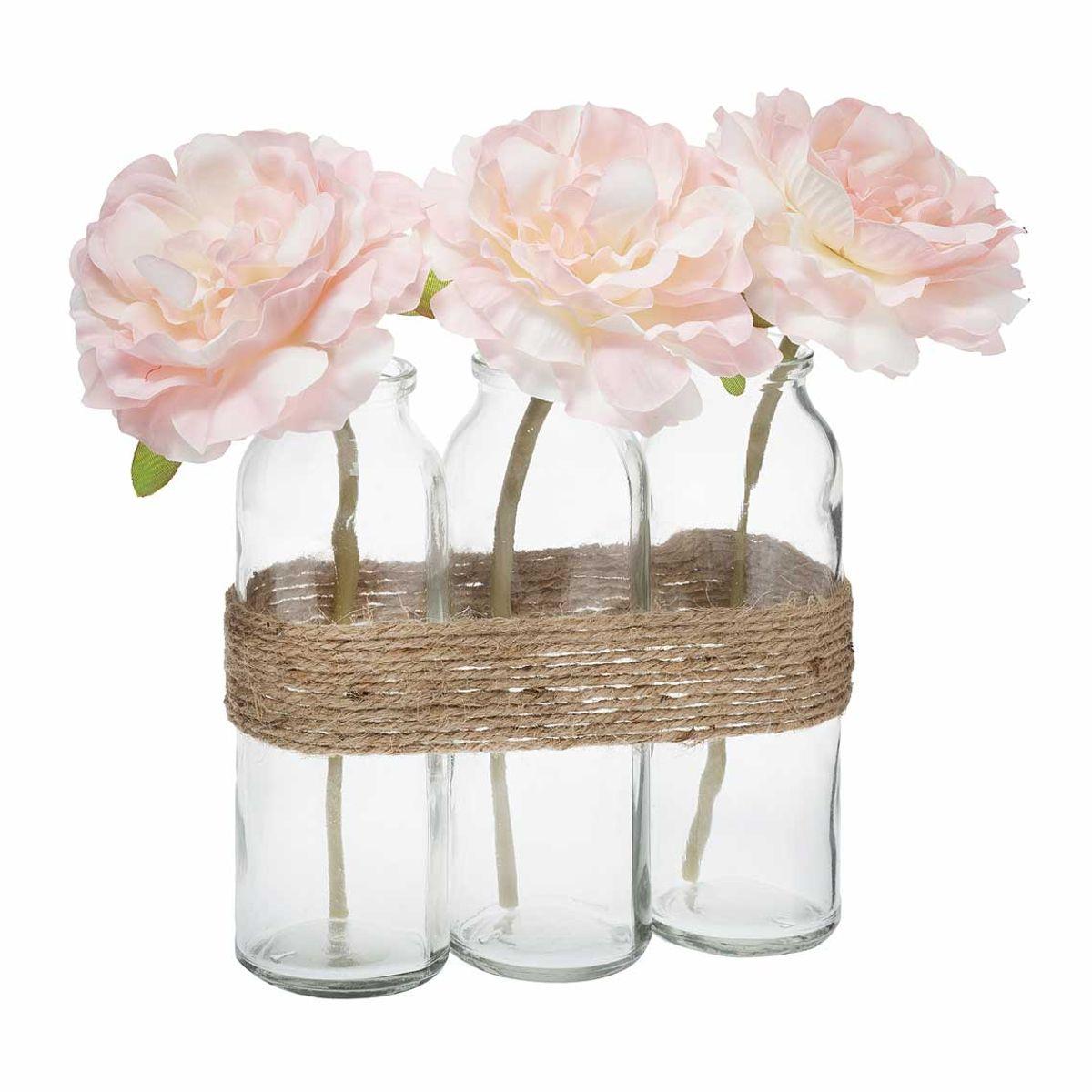 Composition florale rose en tubes