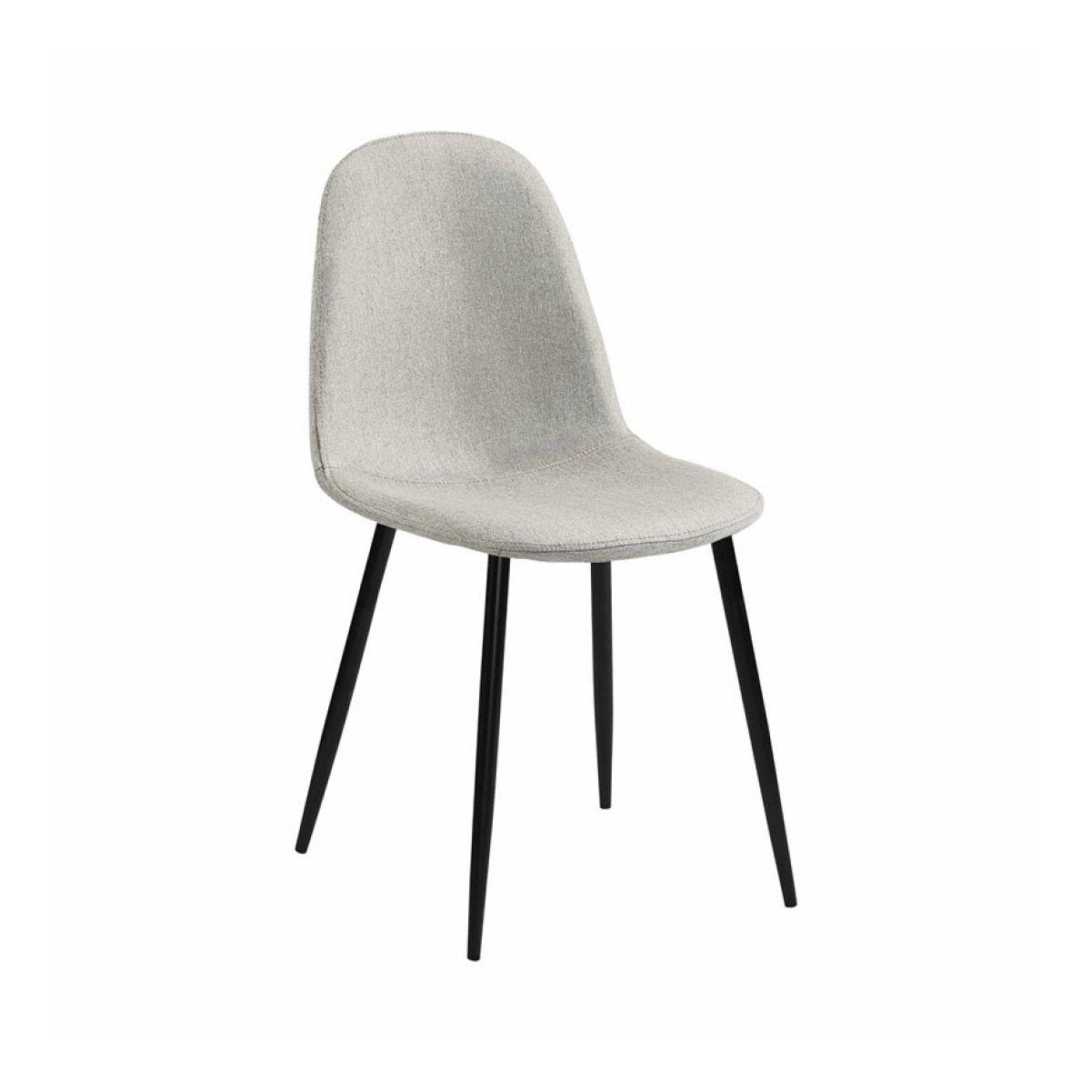 Chaise scandinave en tissu gris/beige pieds noirs