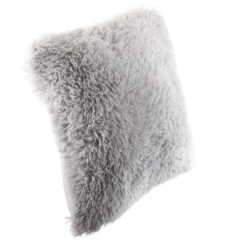 Coussin fausse fourrure doux gris Xaros 40x40 cm