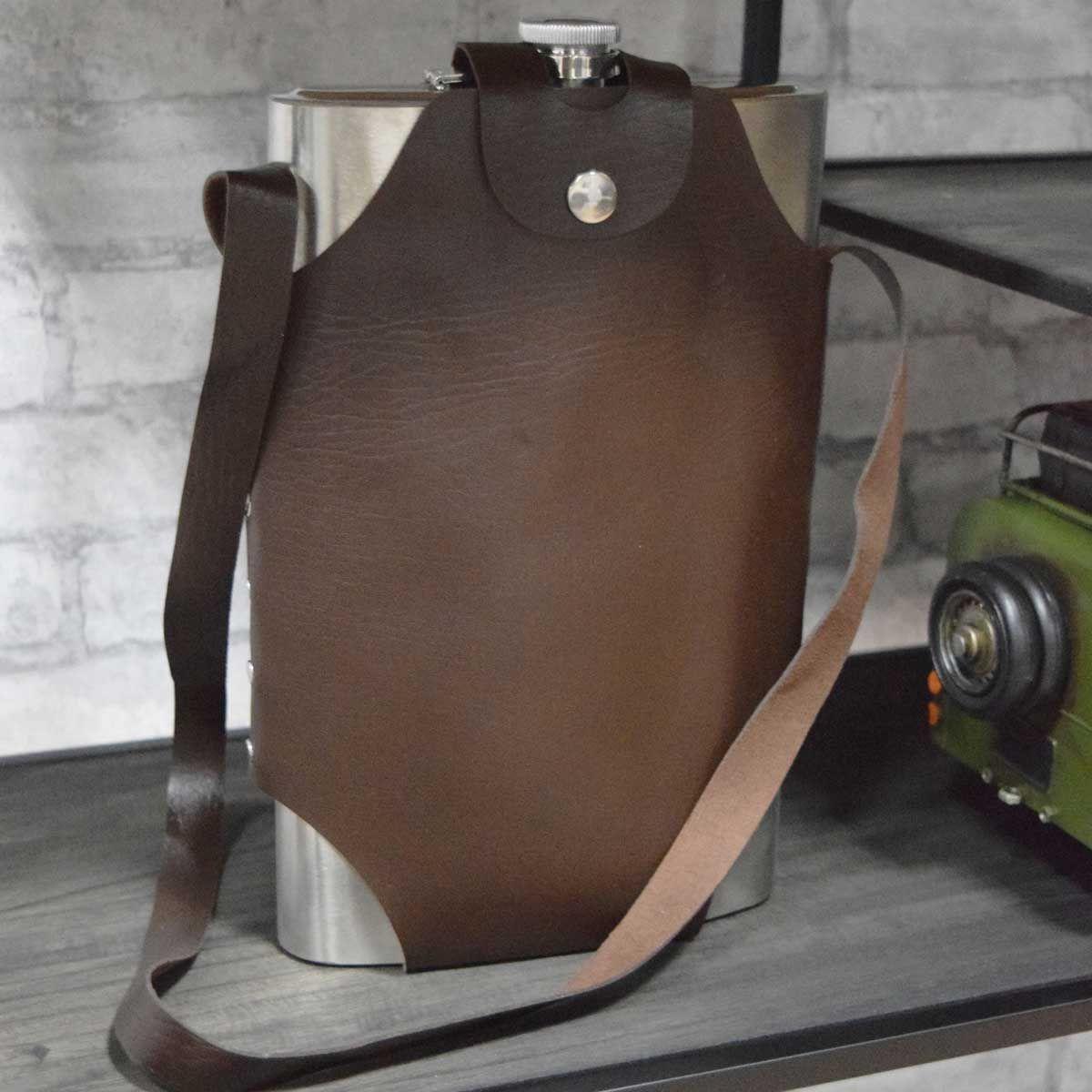 Flasque en inox avec housse cuir