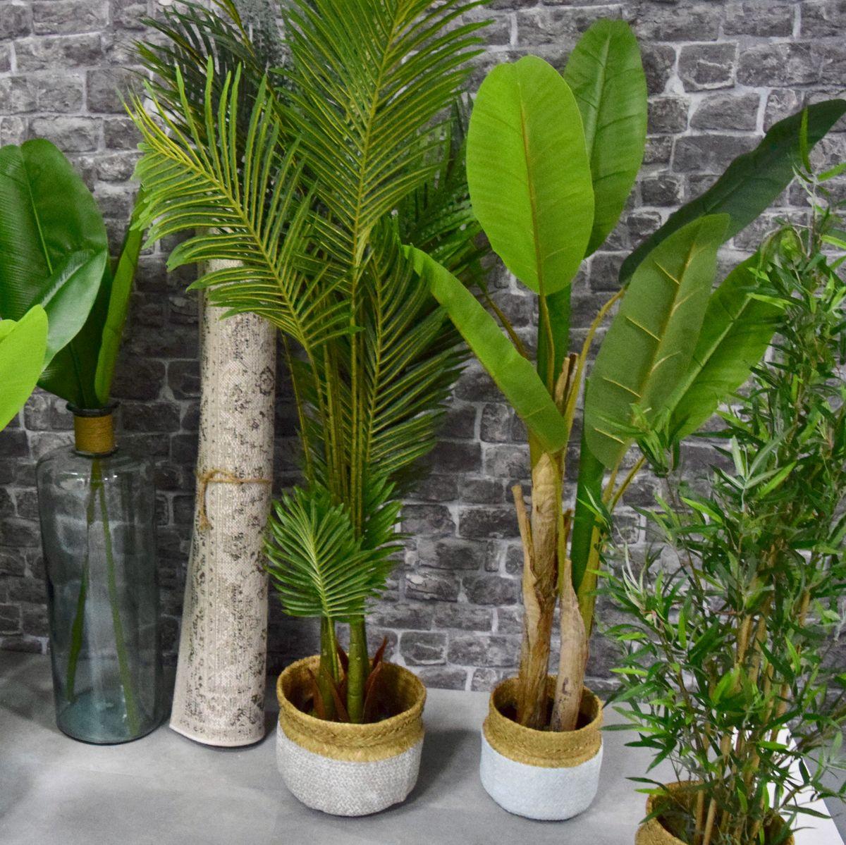 Arbuste artificiel bananier double en pot H. 160 cm