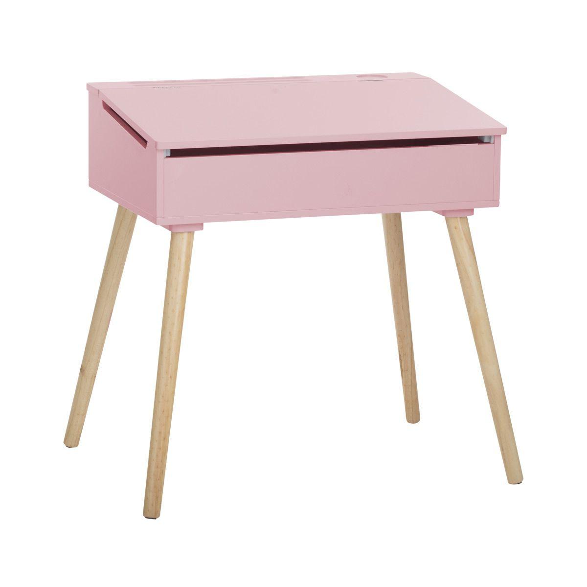 Bureau enfant pupitre rose et bois