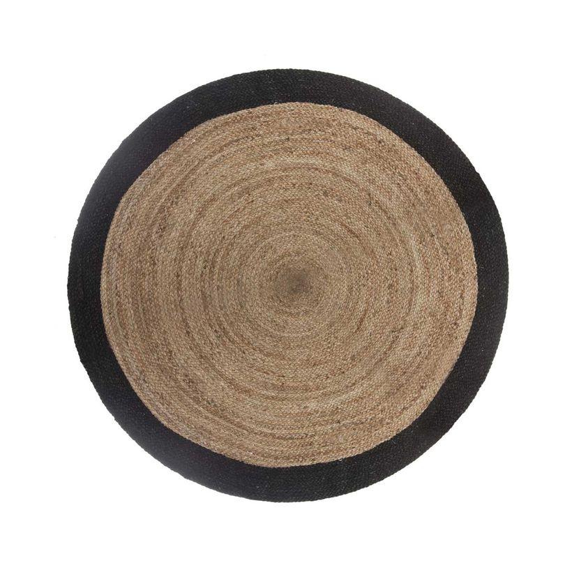Tapis rond en jute naturel noir 120 cm