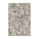 Tapis tissé à plat feuilles grises fond beige Spitz