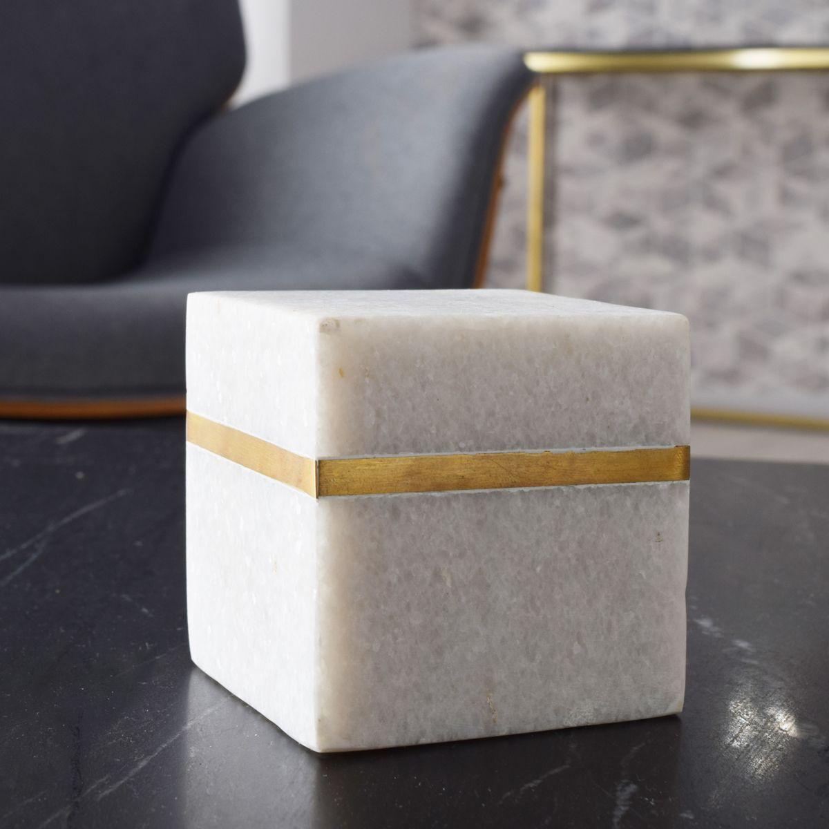 Presse papier en marbre et laiton