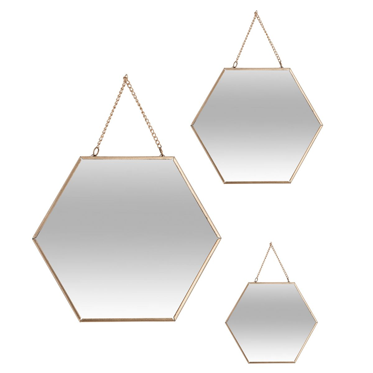 Lot 3 miroirs métal hexagone or
