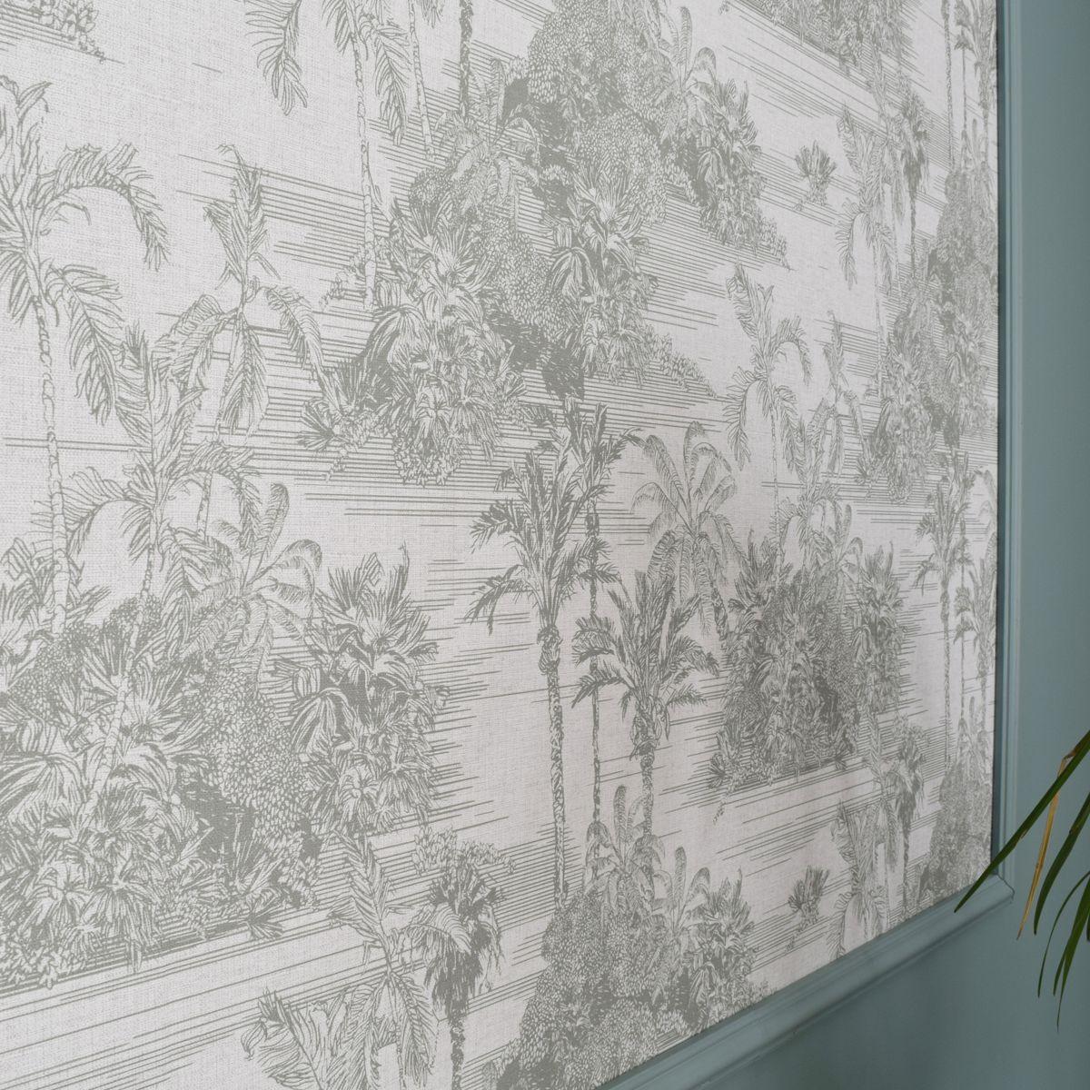 Papier peint vinyl intissé toile de jouy verte Leicester