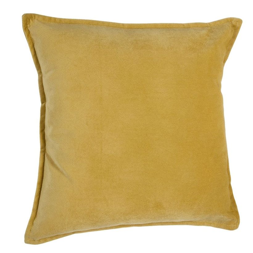 Coussin velours jaune moutarde Leros 45x45 cm