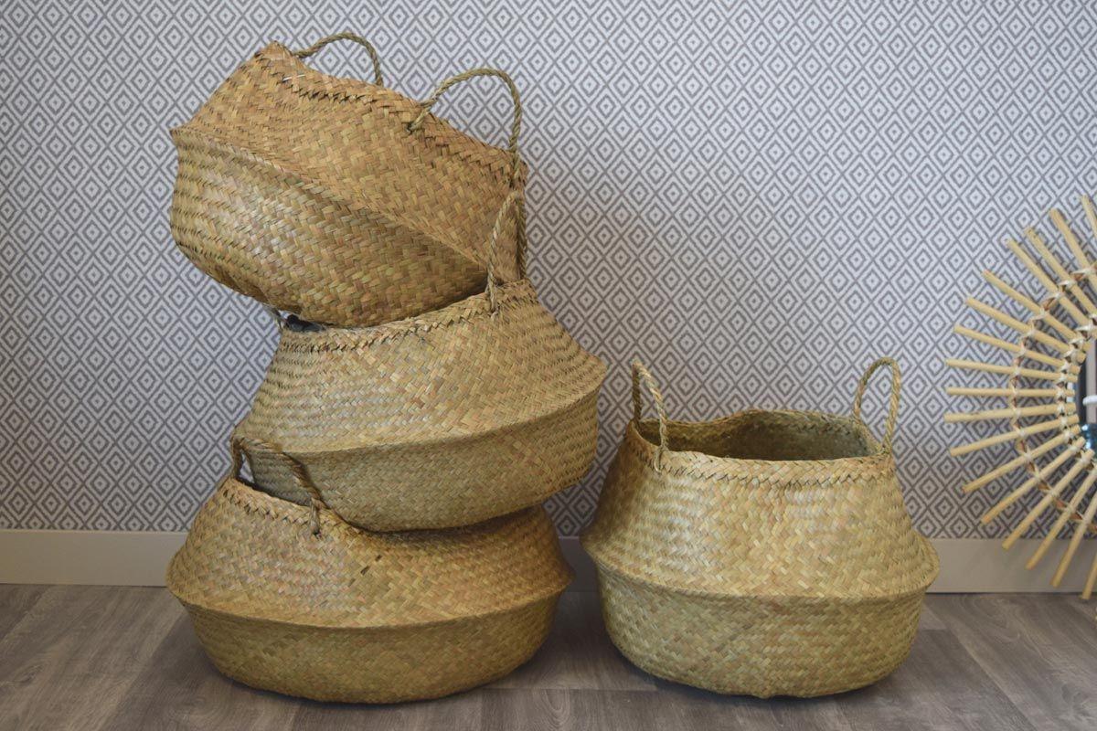 Panier thailandais osier blanc
