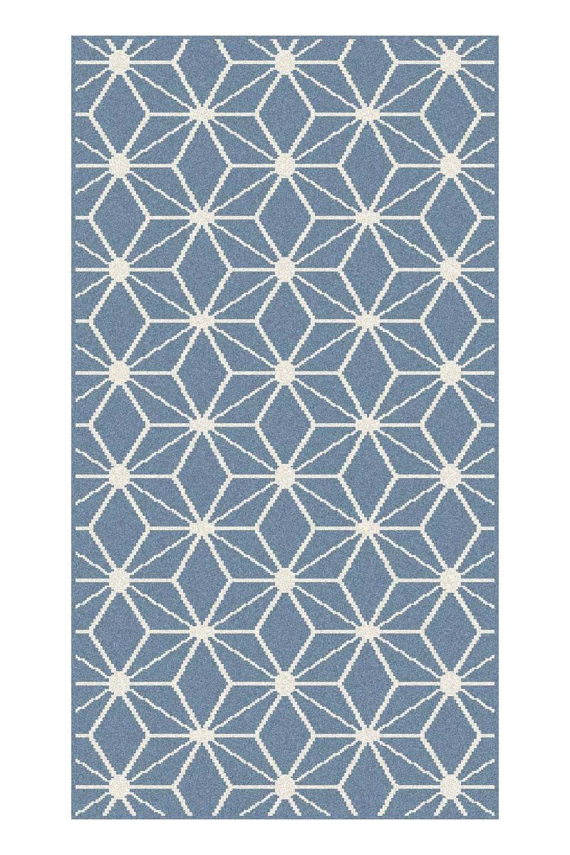Tapis moderne cubic bleu Maoke 60x110 cm