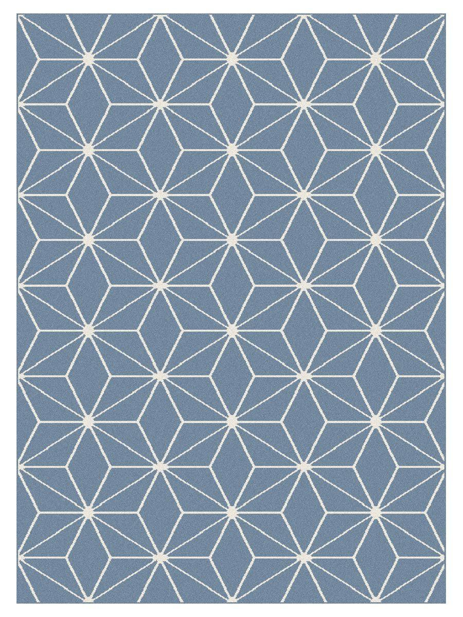 Tapis moderne cubic bleu Maoke 160x220 cm