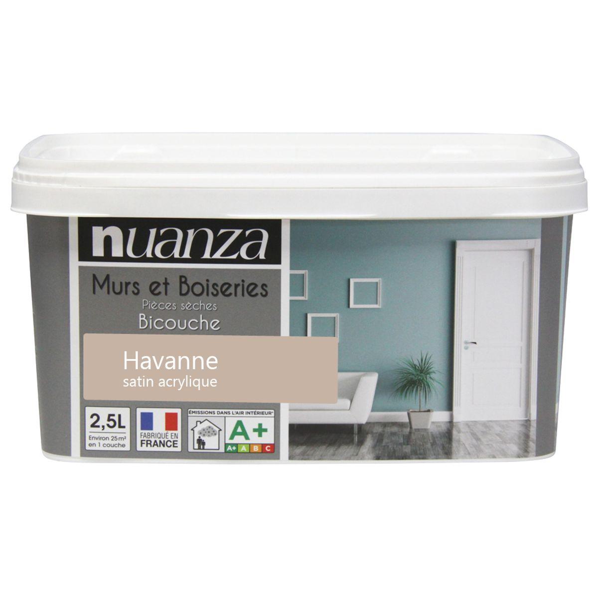 Peinture havane satin murs et boiseries Nuanza 2.5l