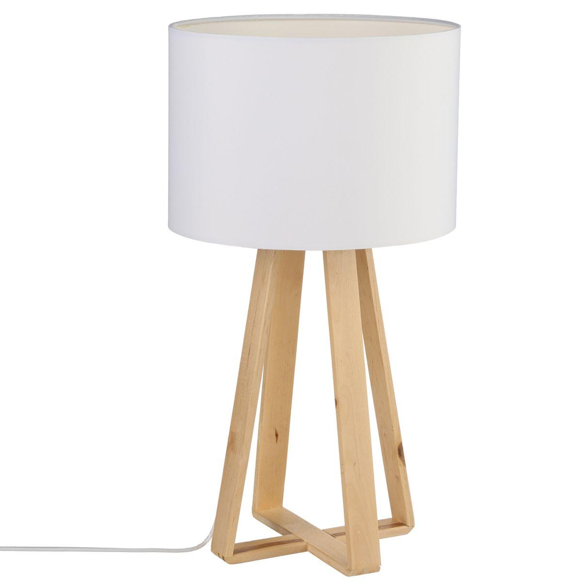 Lampe pied bois Scandi blanc