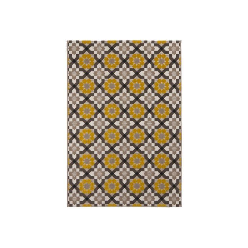 Tapis relief rosace jaune Nuptse 120x170 cm