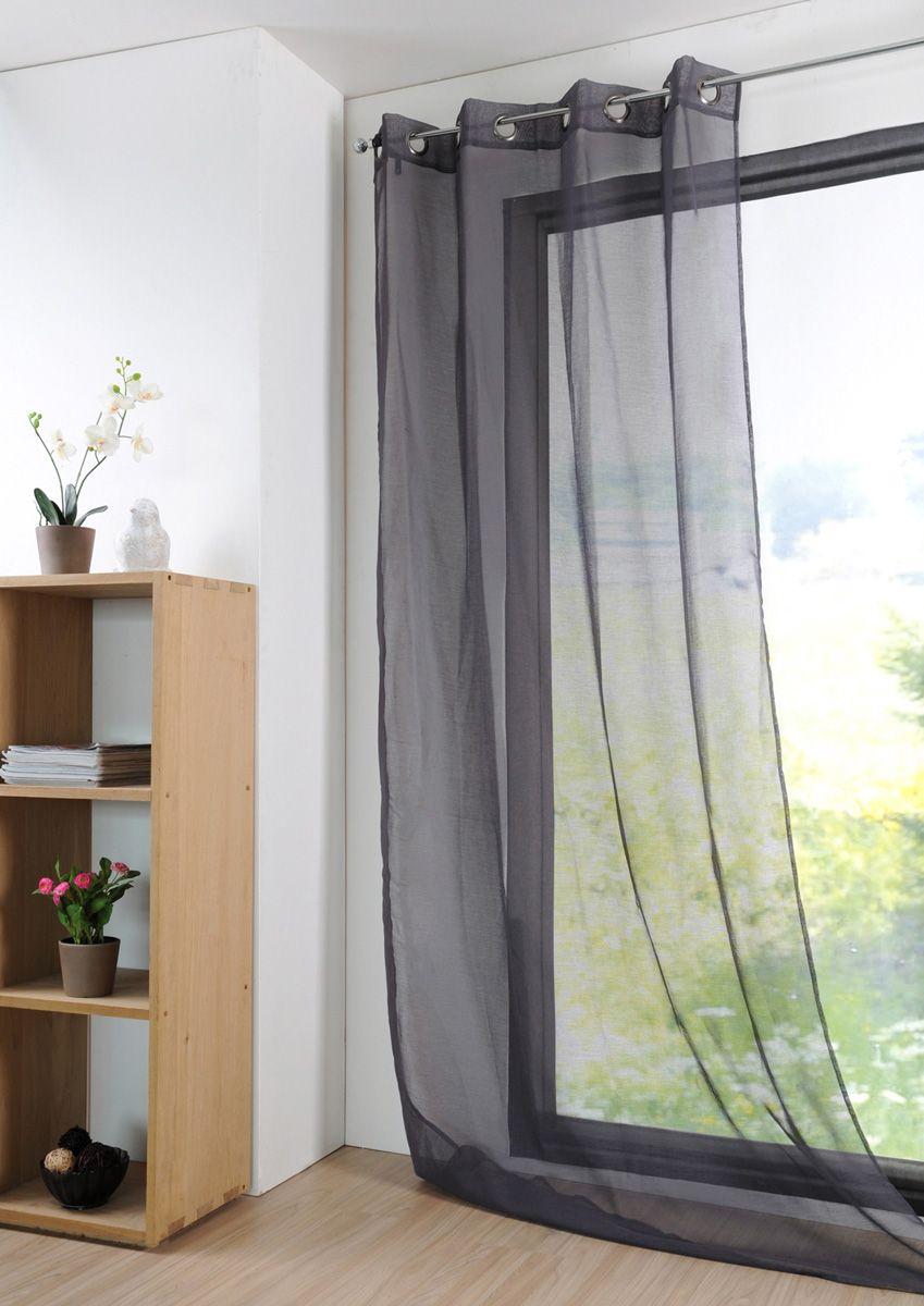 Rideau uni gris foncé Monna 135x260 cm