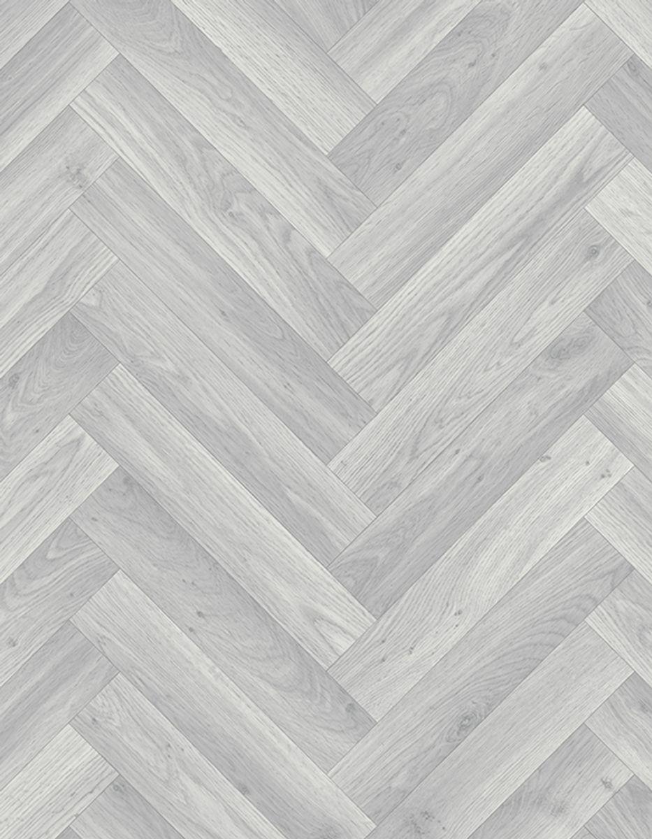 Sol PVC chevron gris blanchis Aboca  400cm