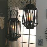 Lanterne rattan noire