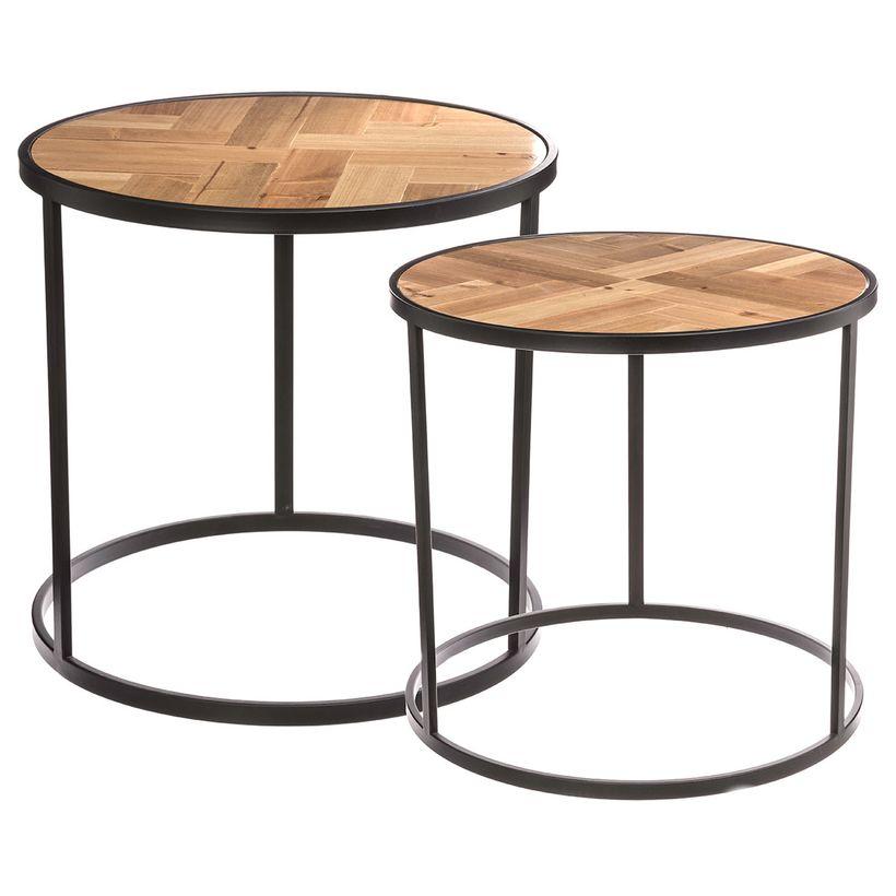 Lot de 2 tables à café métal et bois chevron