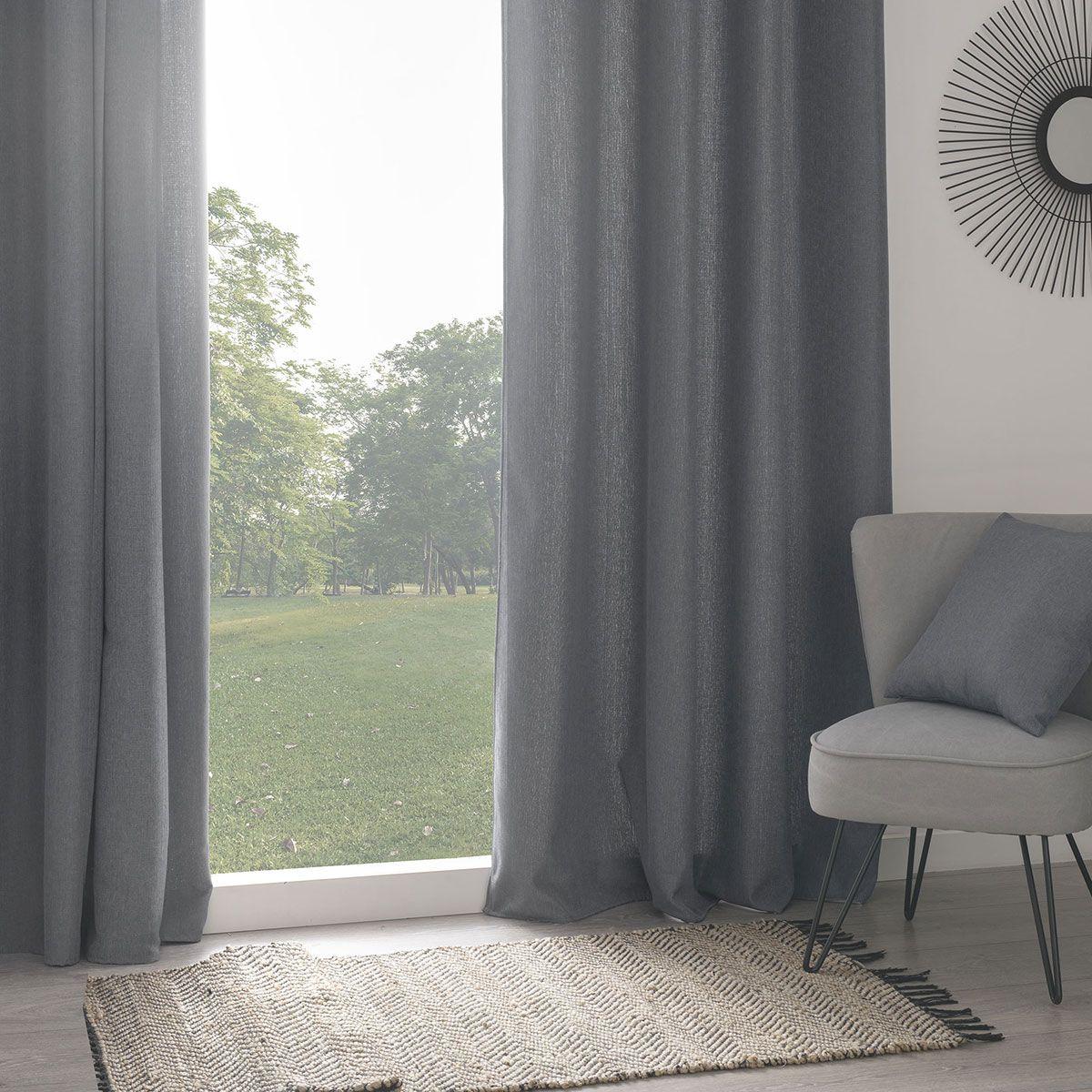Rideau isolant thermique et phonique gris 140x260 cm