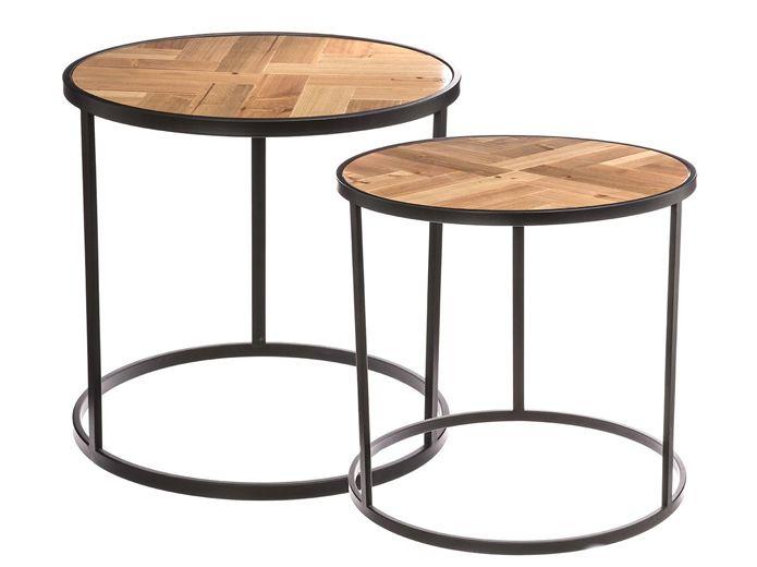Lot 2 tables bois métal noir