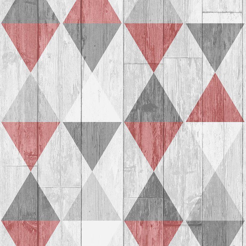 Papier Peint Géo Rouge Gris Bigburry intissé